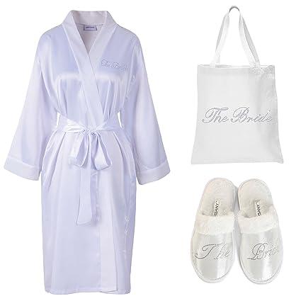 Varsany - Bata de satén para novia, pantuflas y bolsa de tela personalizable