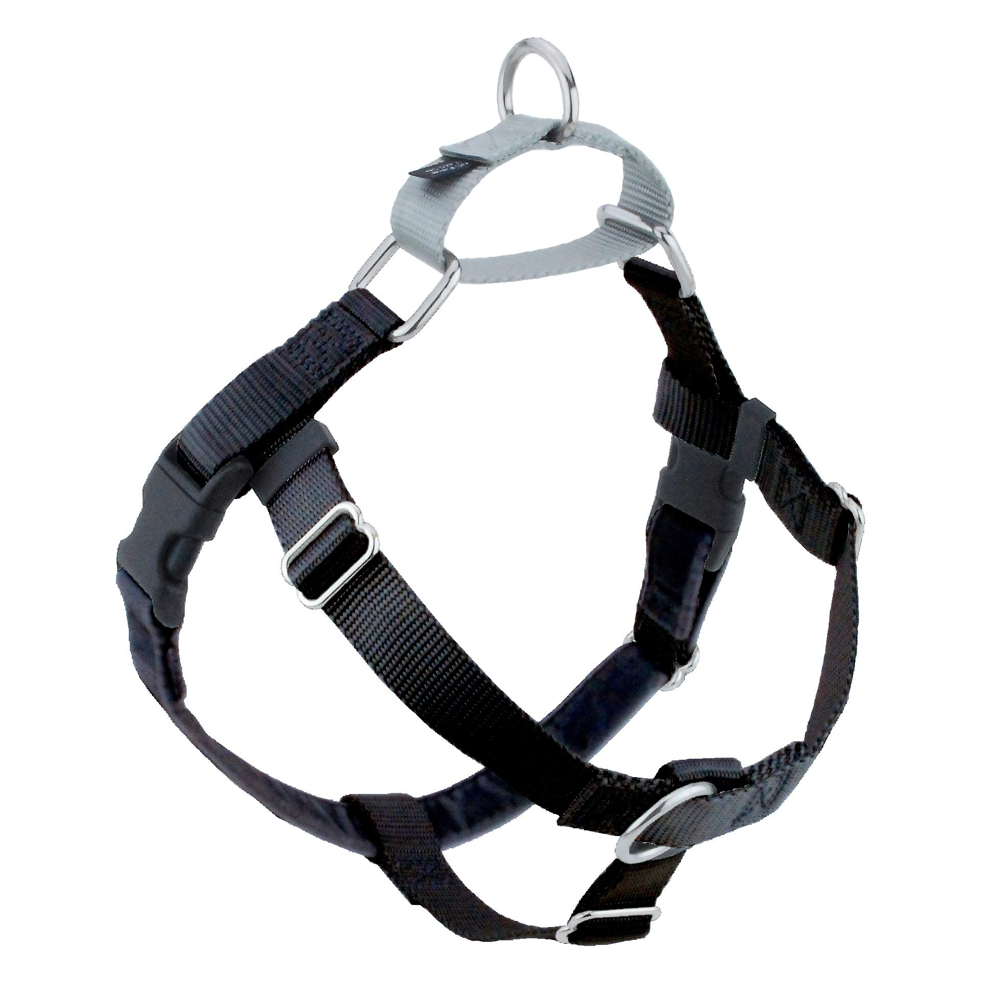 2 Hounds Design Freedom No-Pull Dog Harness, Adjustable Comfortable Control for Dog Walking, Made in USA (Leash Sold Separately) (Small 5/8'') (Black)