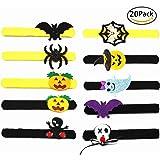 Slap Bracelets Halloween Party Favors Decor Supplies Wrist Decoration Assorted Toy- Bat, Pumpkin, Ghost, Spider,Skull Design (20 Pcs)
