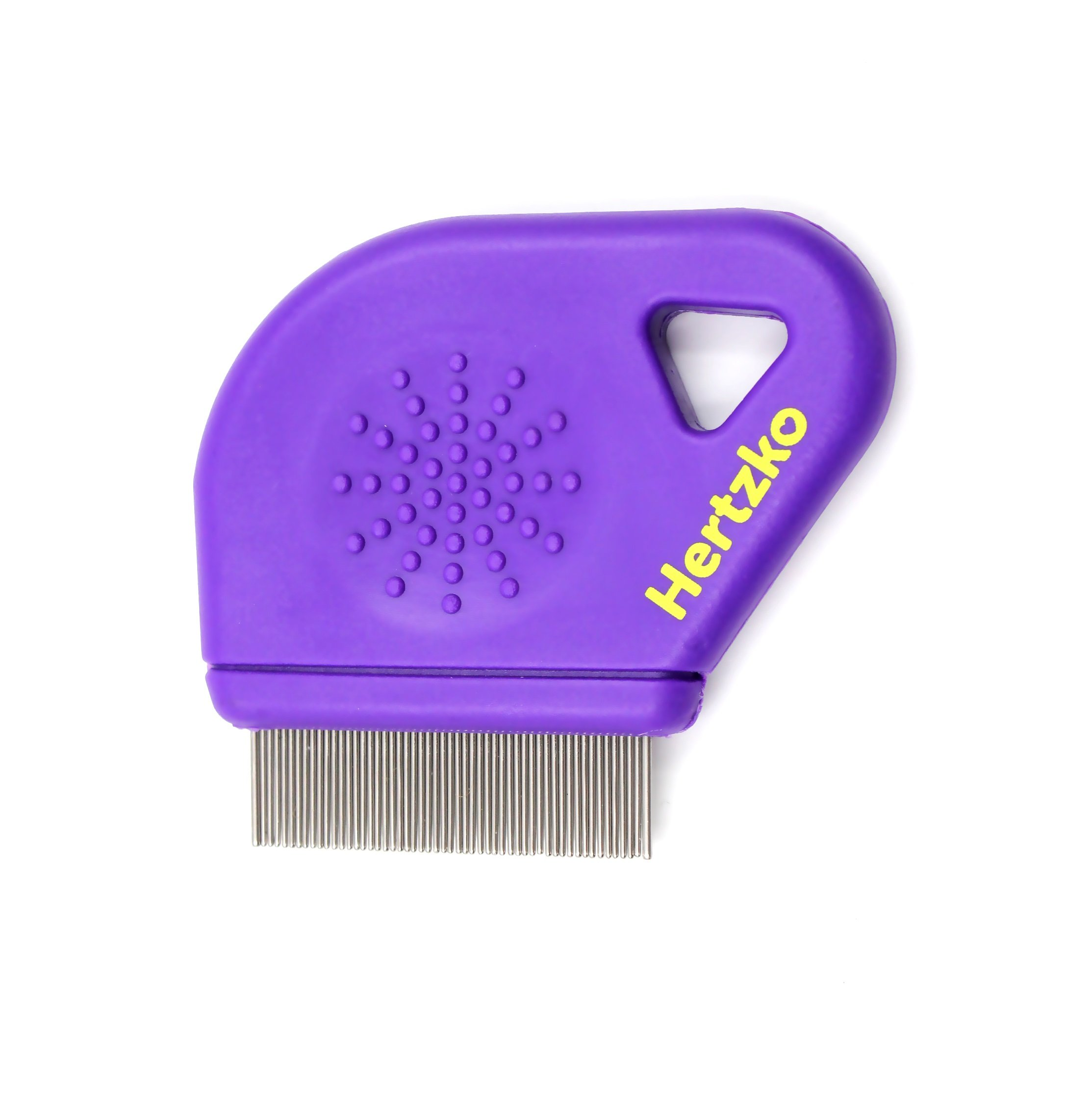 Hertzko Flea Comb By Closely Spaced Metal Pins Removes Fleas, Flea Eggs, And Debris From Your Pet's Coat - 10mm Metal Teeth Are Great For Short Hair Areas - Suitable For Dogs And Cats!