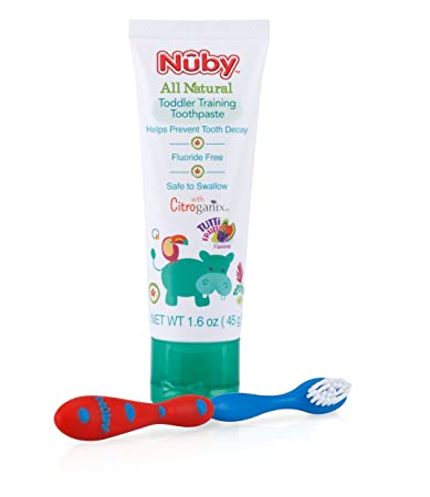 Nuby All Natural Toddler Toothpaste with Citroganix with Toothbrush (Red/Blue)