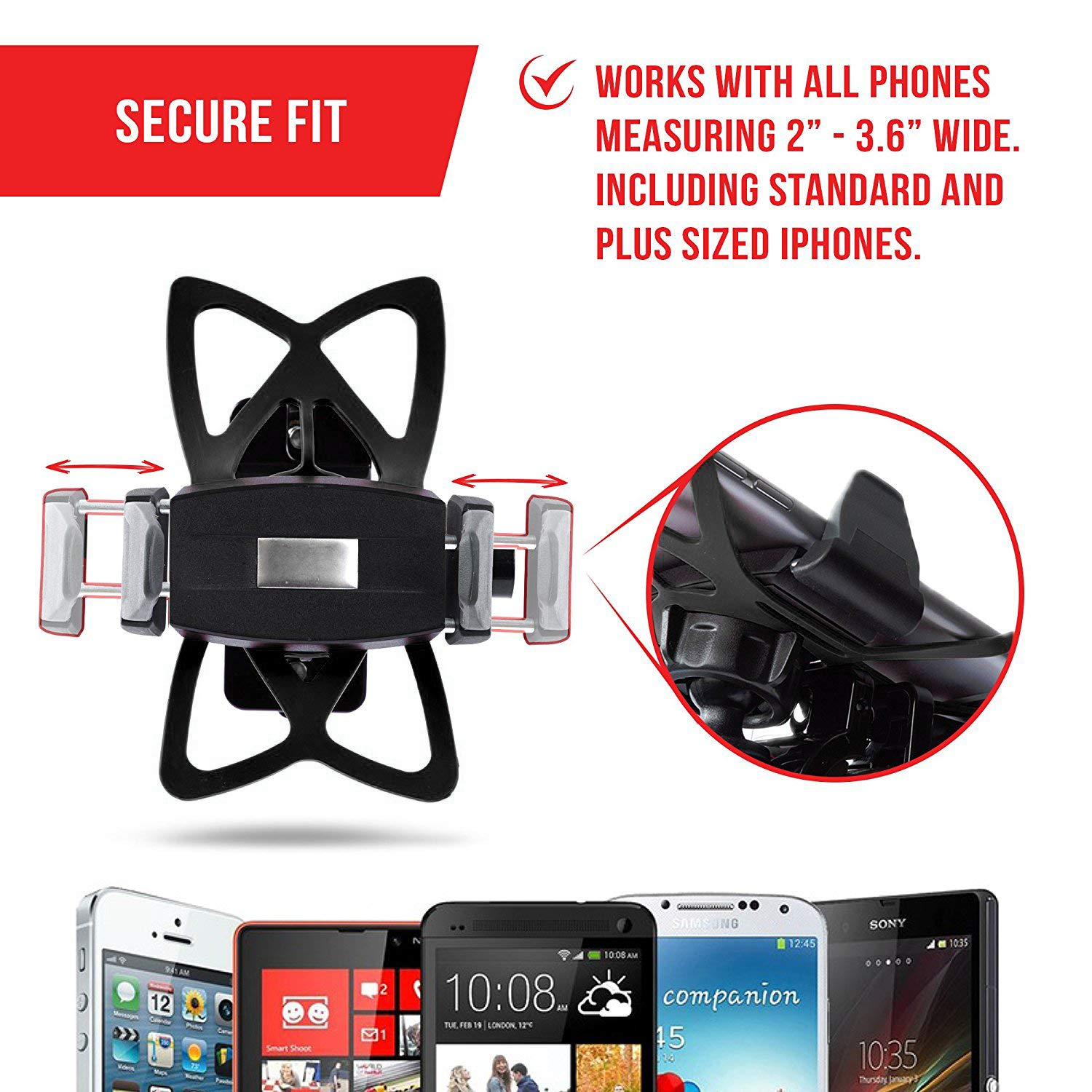 Phone Holder for Motorcycle or Bike - by TACKFORM [Quick Clamp] Heavy Duty Mounting Solution for Phones up to 3.5'' Wide. Works on all Bars from .6'' - 1.5'' In diameter by Tackform Solutions