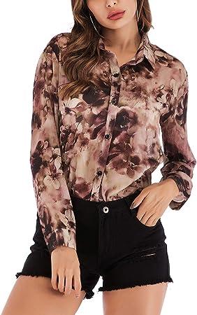 FENICAL Camisa de Gasa con Estampado de Moda para Mujer Blusa Cruzada con Solapa Top de Manga Larga para la Primavera de Verano (Lavanda, Talla XL): Amazon.es: Hogar