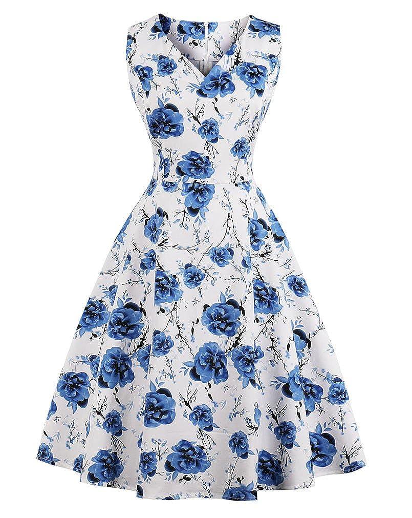 VERNASSA Women's Vintage Dresses, 50s Retro Classy Hepburn Style Cotton Cocktail Club Prom Evening Swing Dress,Multicolor,Size S-4XL VERN-Dress1396