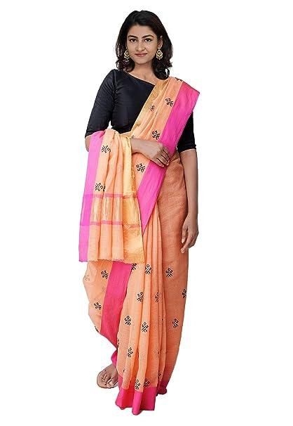 41467393e8 Unnati Silks Women Kasuti Embroidered Pure Kota Cotton Saree with blouse  piece from the Weavers of Rajasthan (UNM27543+Orange+Free size): Amazon.in:  ...
