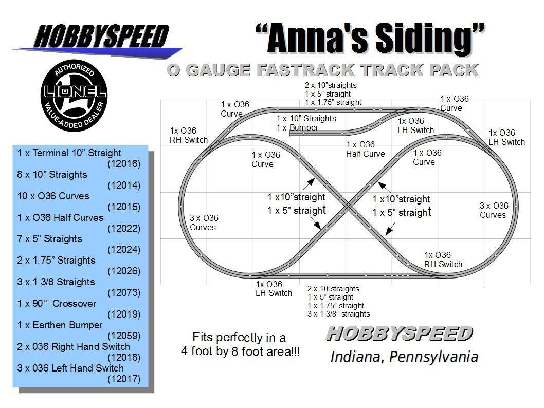 Lionel Fastrack Annas Siding Track Layout Train Pack 4 Switch Wiring Free Download Diagrams Pictures X 8 O Gauge Toys Games