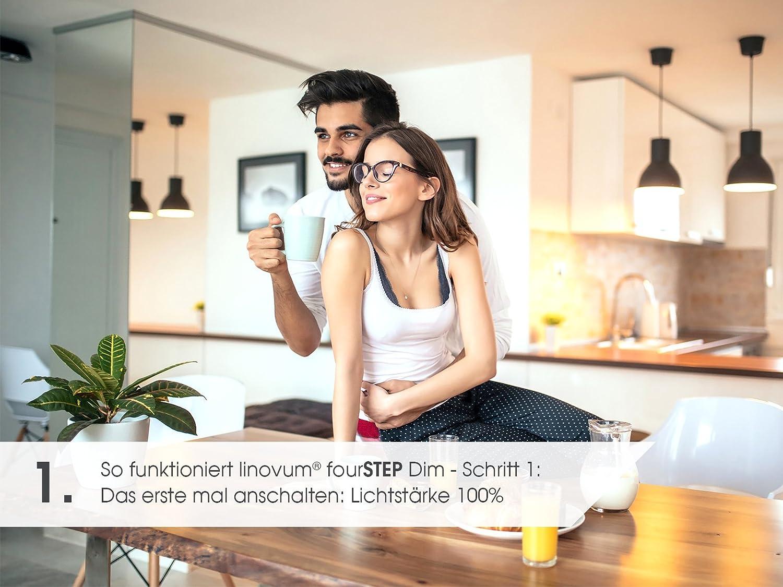Edelstahl Optik wassergesch/ützt linovum/® LED Bad Einbauspot fourSTEP 5W warmwei/ß dimmbar ohne Dimmer mit IP65 Einbaurahmen