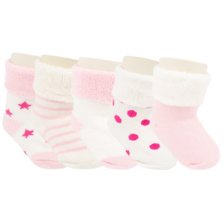 Ateid Bebés Niños Calcetines Grueso de Algodón Invierno Paquete de 5 Pares Rosa