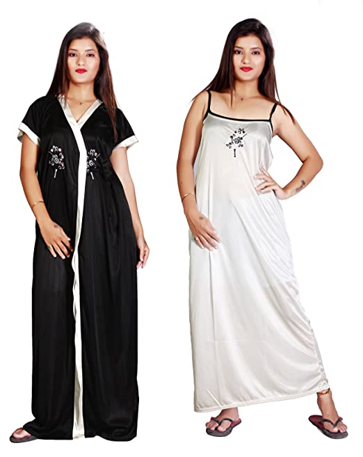 7450753942f MAHAARANI Preimum Satin Nighty Nighty Nightwear Nightdress Set with Inner  Lining and Smooth Robe for Girls Ladies Womens by Mahaaran (Black   White)   ...
