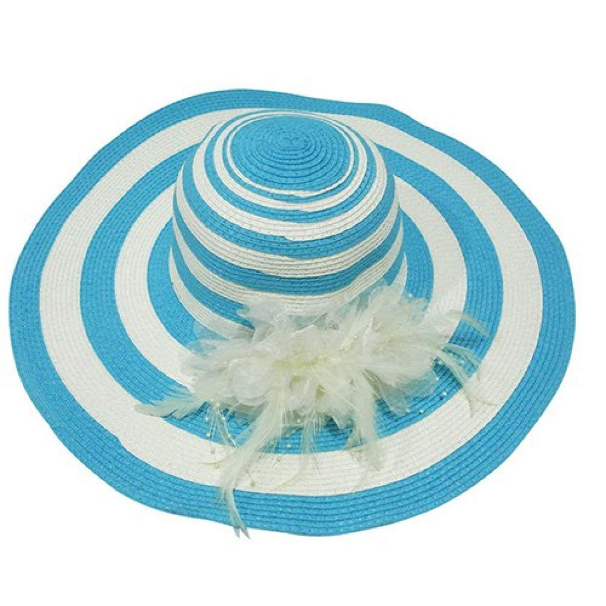 Big Wide Brim Summer Beach Hats for Women Floppy Stripe Design Sunscreen Girls Sun Hat