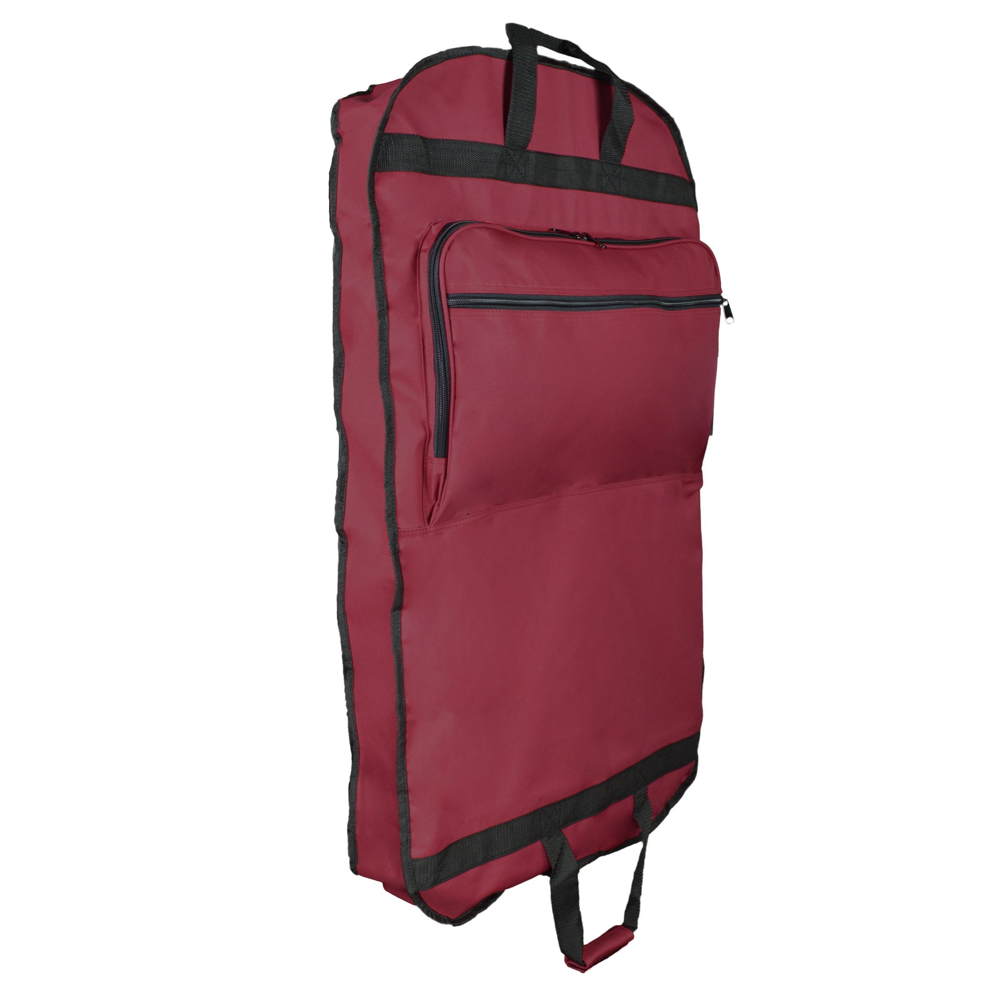 DALIX 39'' Garment Bag Cover for Suits and Dresses Clothing Foldable w Pockets in Maroon