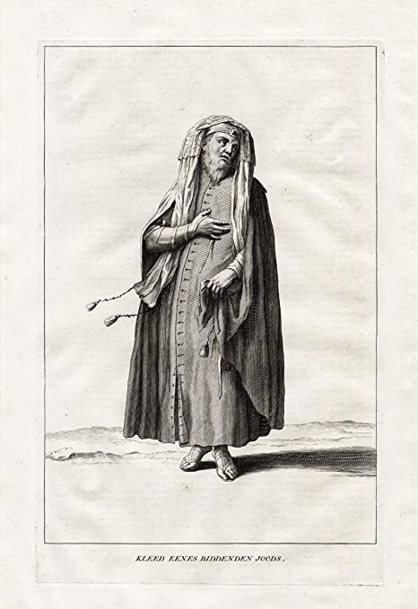 Impresión antigua-rezando ThePrintsCollector judio-traje ...