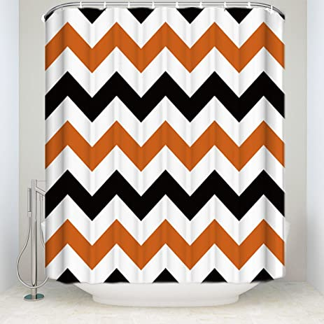 Halloween Black Orange Chevron Waterproof Bathroom Fabric Shower CurtainBathroom Decor 72quot