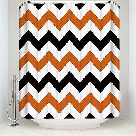 Halloween Black Orange Chevron Waterproof Bathroom Fabric Shower CurtainBathroom Decor 72quot