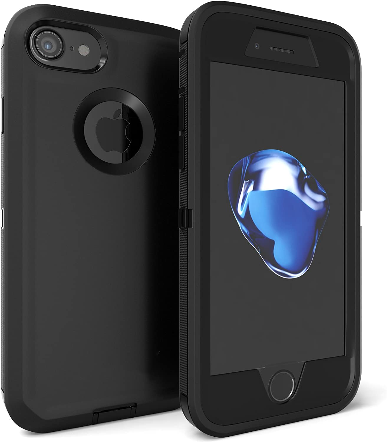 iPhone 7 Case, Viero Defender Case Heavy Duty Rugged Impact Resistant Full Body Protective Armor Military Grade Protection Belt Clip Built-in Screen Protector Case Cover for iPhone 7 - Black