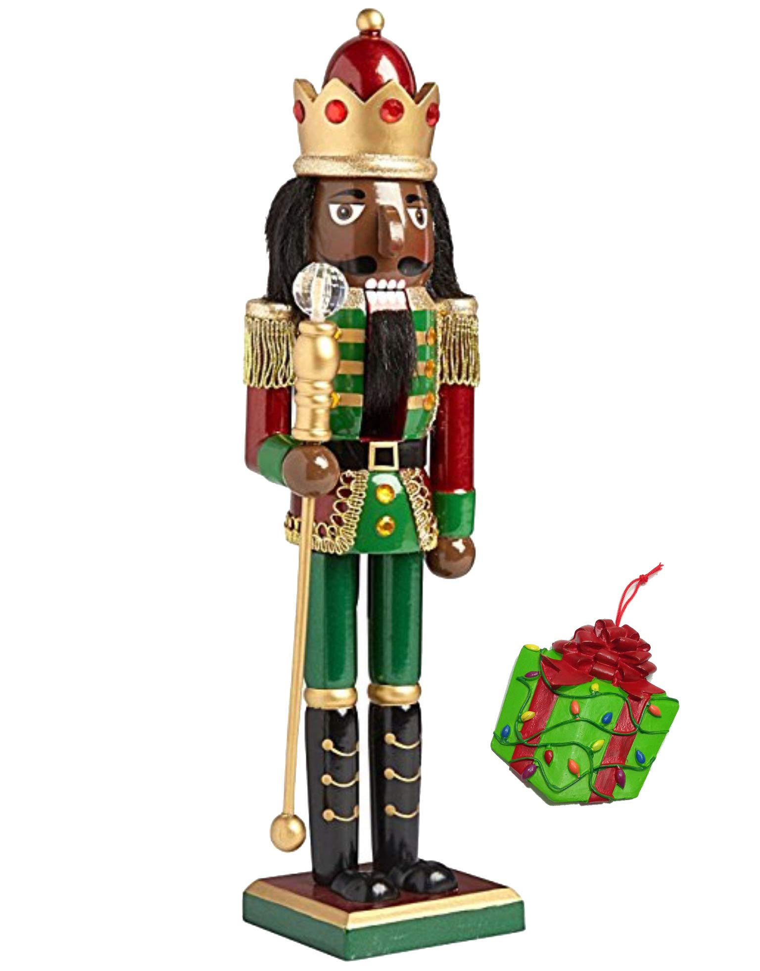 African American King Large Unique Decorative Holiday Season Wooden Christmas Nutcracker & Bonus Tree Ornament