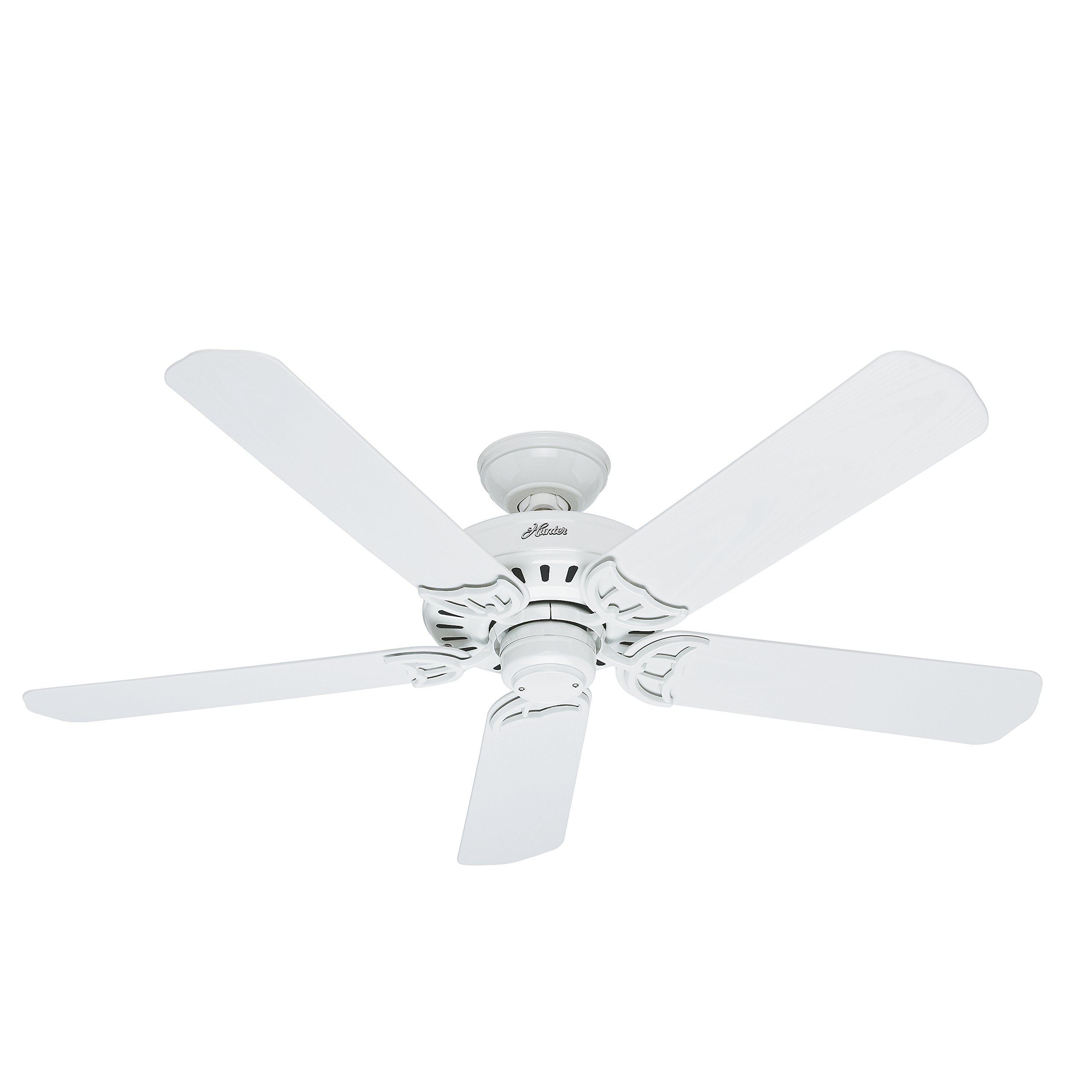 Hunter 53125 Bridgeport 52-Inch ETL Damp Listed Ceiling Fan with Five White Plastic Blades, White
