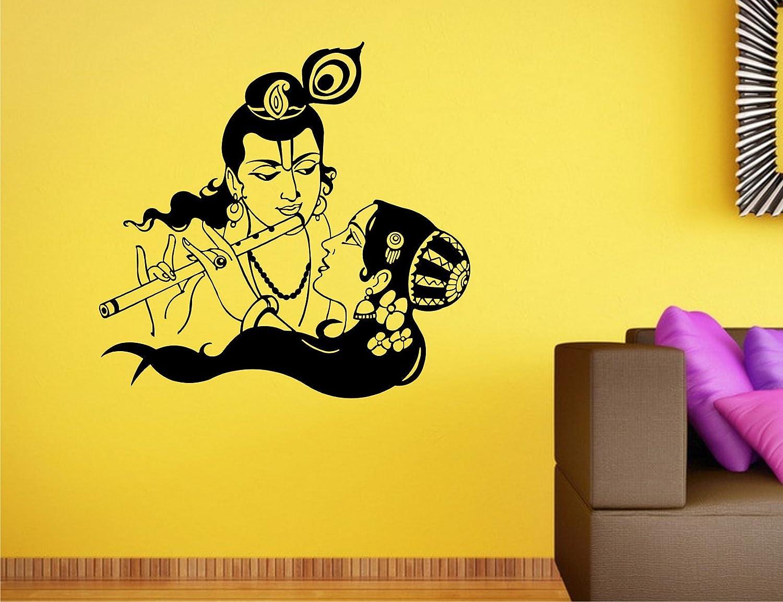 Buy Wall Guru Radha Krishna Couple Wall Decal Size(59*62)Cm Vinyl ...