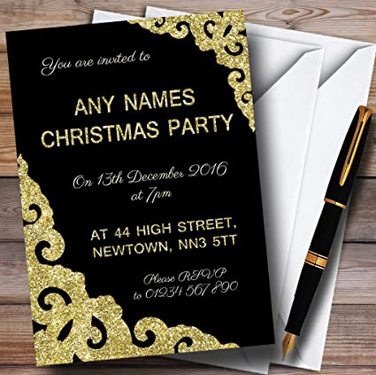 black with gold border personalized christmasnew yearholiday party invi
