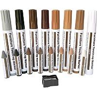 Meubelreparatie Marker,Houtvuller Krasreparatiesets, Set van 17-Markers en Wax Sticks met puntenslijper Kit,Voor vlekken…