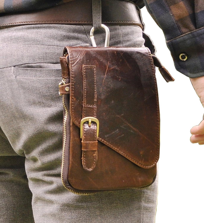 Amazon.com | Le'aokuu Mens Genuine Leather Coffee Fanny Small ...
