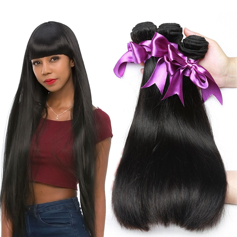 Missexy Brazilian Straight Hair 4 Bundle Deals Grade 10A Virgin Human Hair Weaves Double Weft Hair Bundles for Woman 100g/pc 4pc/lot (18 20 22 24 Inches) Karuisi