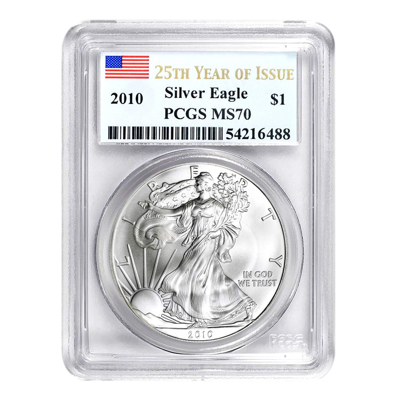 2011 $1 1 oz Silver Eagle 25th Anniversary MS70 PCGS Flag First Strike