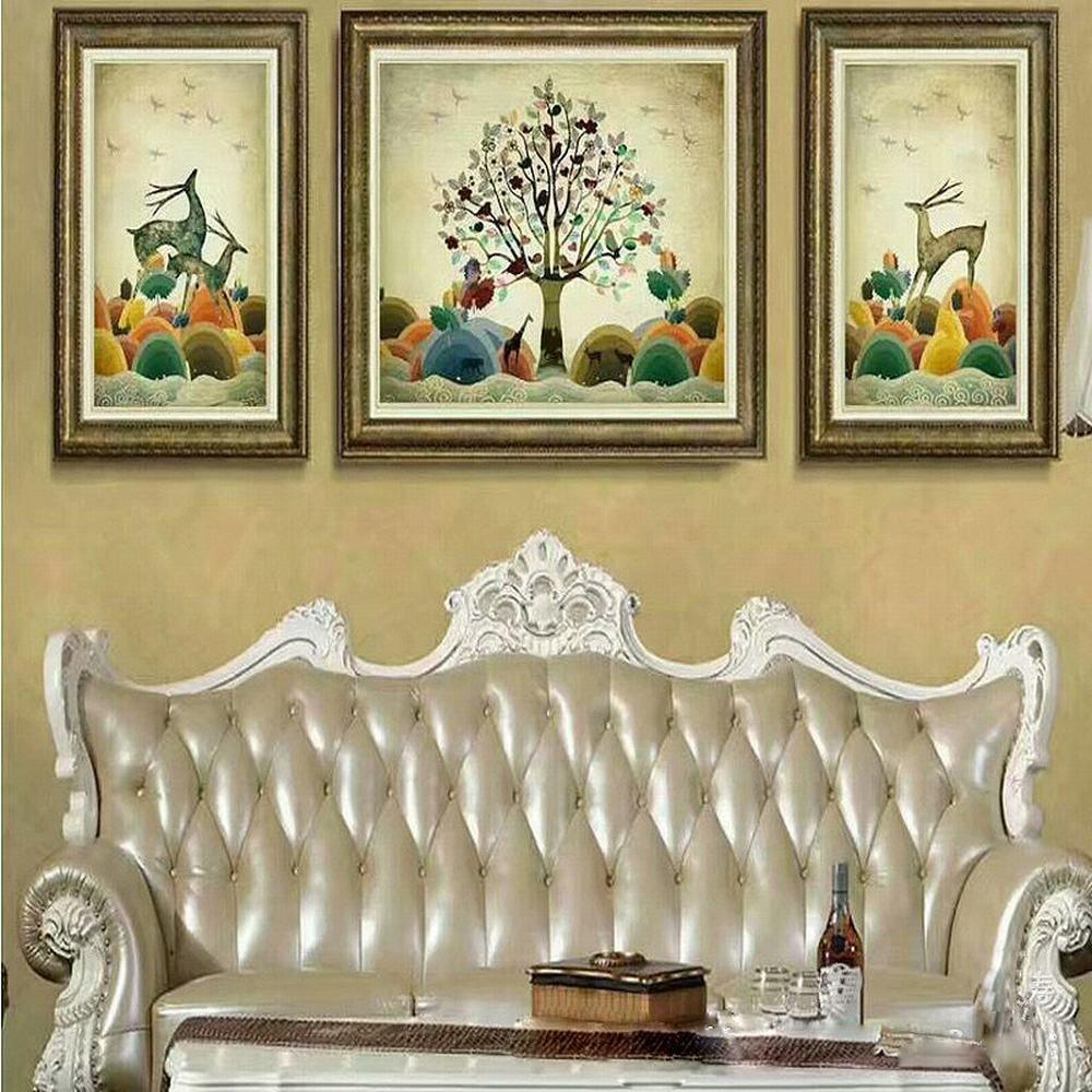 Wj con una Pintura Decorativa en Relieve Tres Pinturas de la Sala de Estar Hotel Hotel Pintura,UN,52  72 + 72  92