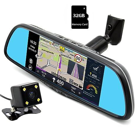 Junsun Navegador GPS Android para Coche Espejo Retrovisor y Videocámara DVR Grabadora 160° Lente Dual