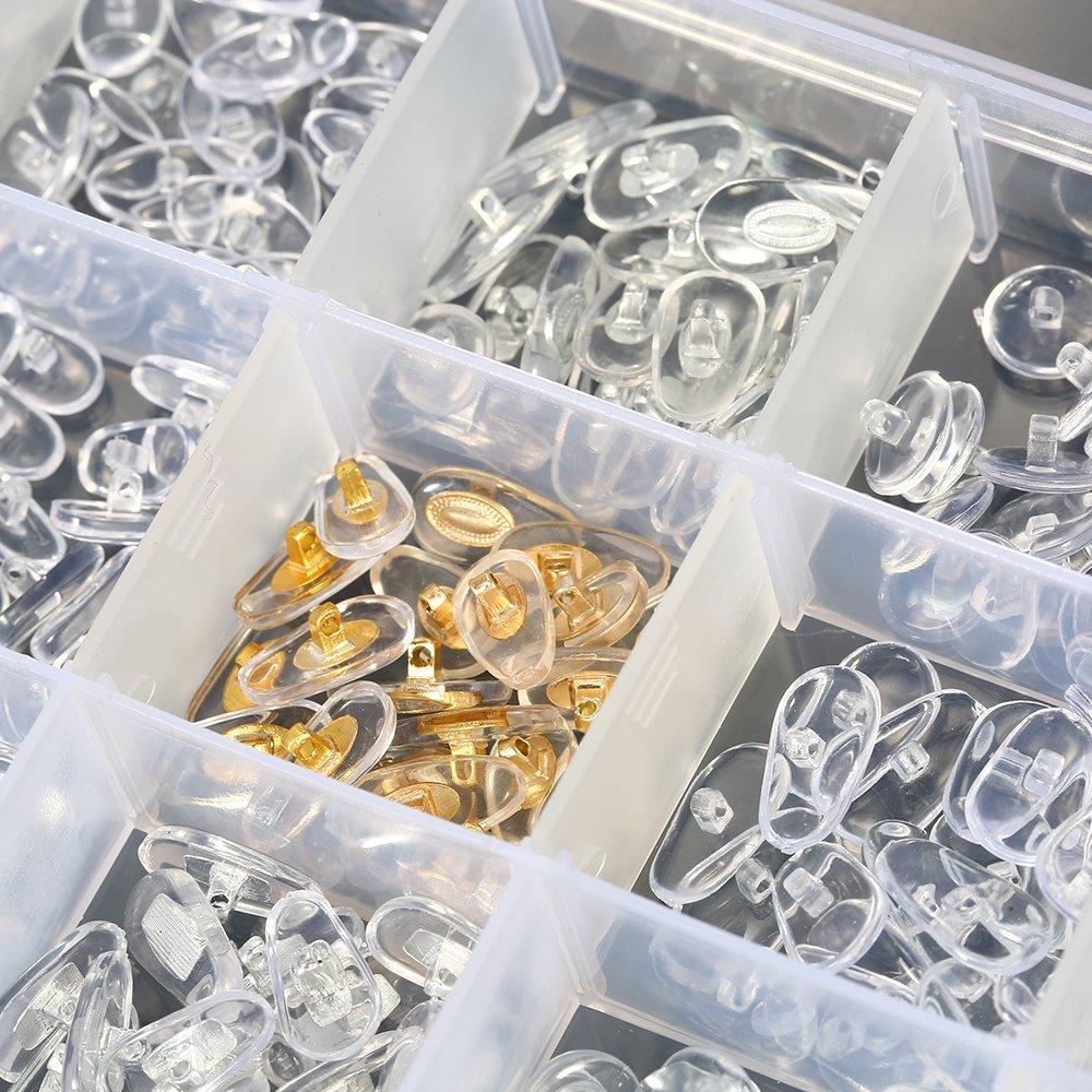 KKmoon 15 estilos de almohadillas para la nariz Set de 150 pares de almohadillas de silicona Ultra-suave de silicona para gafas de sol con estuche de almacenamiento