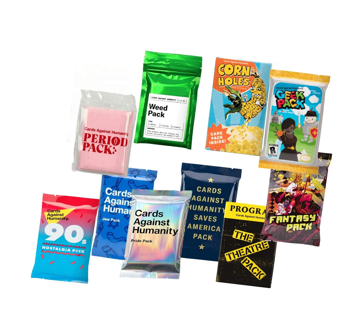 Cards Against Humanity 10 Packs Weed & Period & Pride & Food & Jew & Saves America & Theatre & Fantasy & Geek & 90s Nostalgia