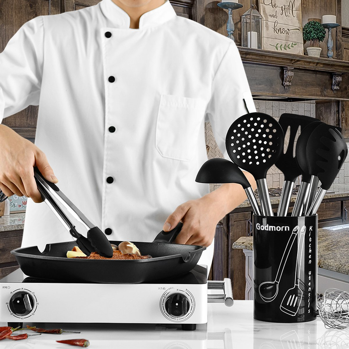 Godmorn Silicone Kitchen Utensil Sets 9 Pcs Stainless Steel Cooking Utensil Set
