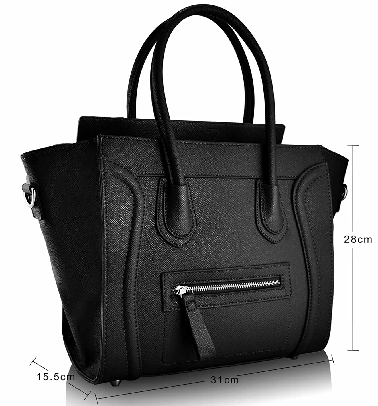 Women s Ladies Designer Tote Grab Smile Faux Leather Celebrity Shoulder Bags  Handbags (Black Smile)  Amazon.co.uk  Shoes   Bags 9450a835c9