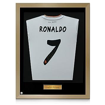 Oro enmarcada firmada por Cristiano Ronaldo camiseta de fútbol de Real Madrid: Amazon.es: Deportes y aire libre
