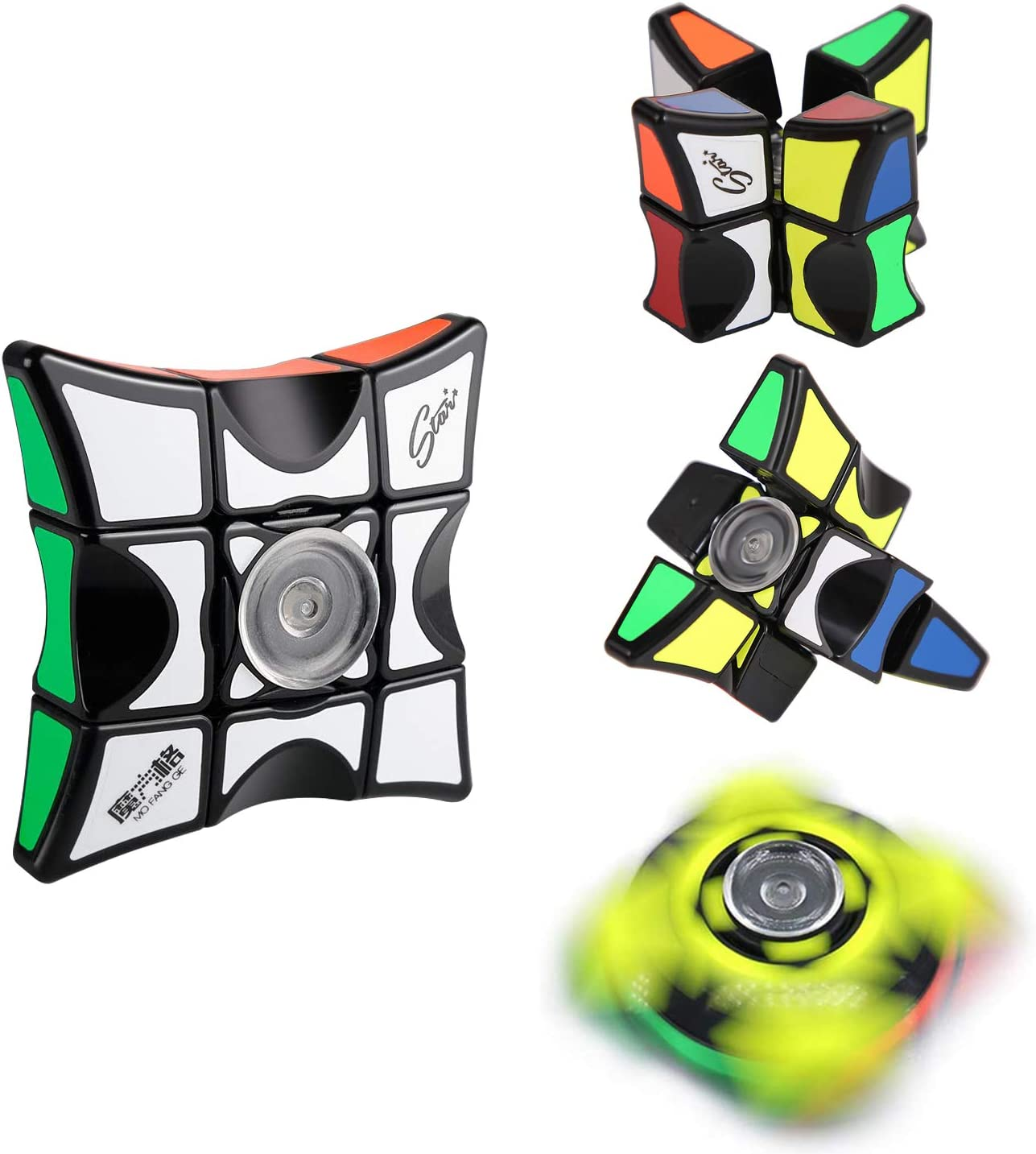SCIONE Fidget Spinner Floppy Cube Fidget Toys Anti-Anxiety Focus ADHD Relax Finger Spinner Stress Relief Toys for Adults Kids