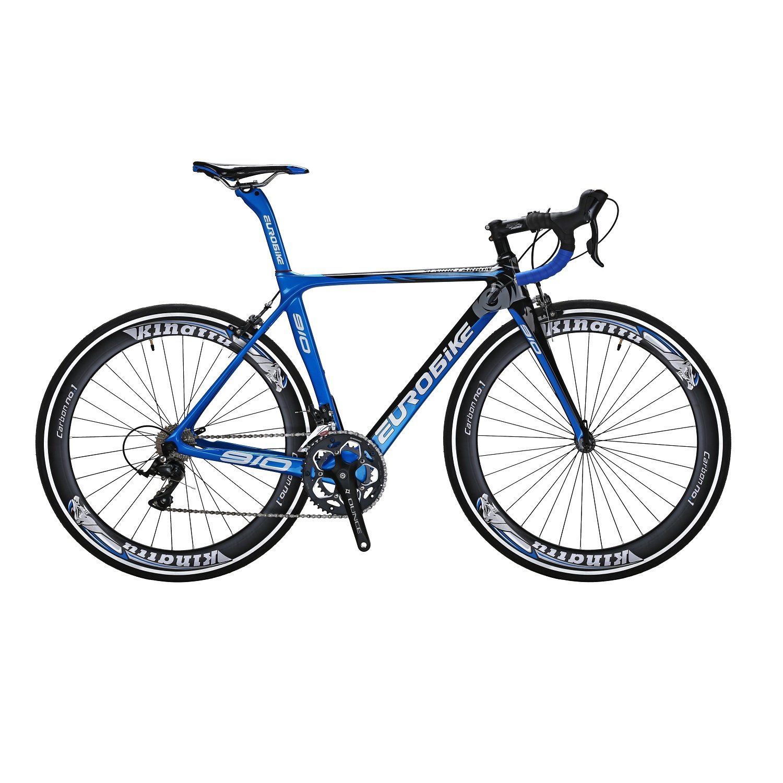 EUROBIKE C910 ロードバイク 700C 炭素繊維フレーム 炭素繊維フロントフォークロードバイク 3000 18S手動変速 钳形ブレーキ超軽量 自転車 B078ZVGLXF  青と黒