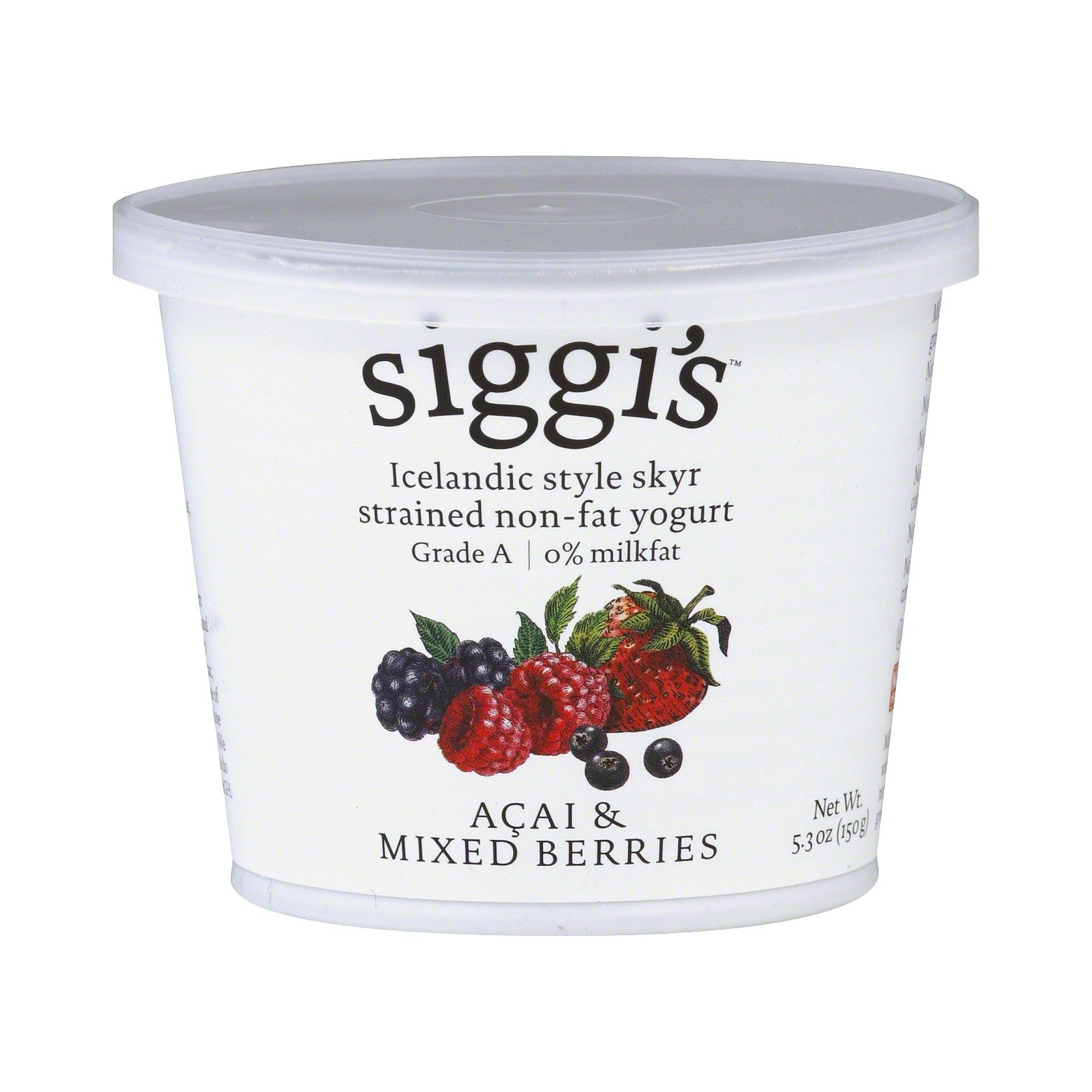 Siggis Icelandic Non Fat Mixed Berries & Acai Yogurt, 5.3 Ounce (Pack of 12)