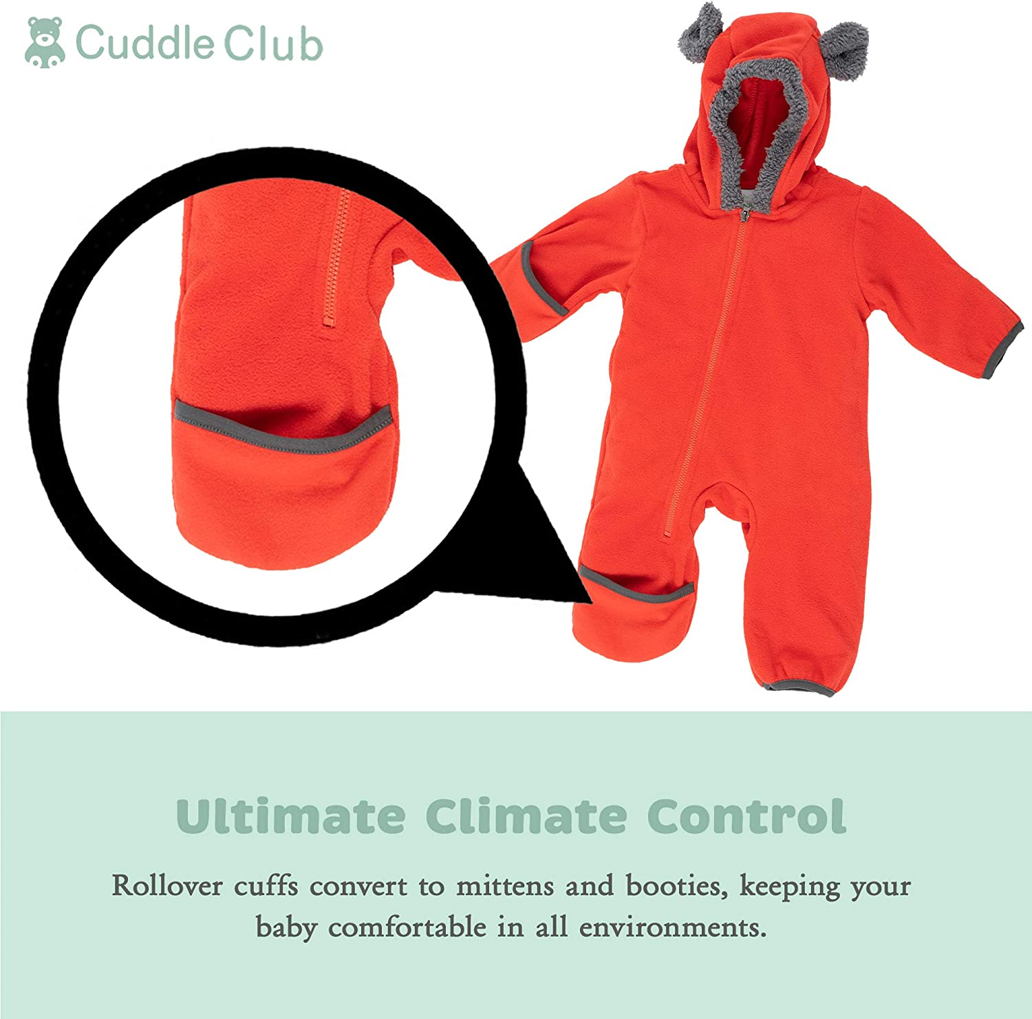 Cuddle Club Fleece Baby Bunting Bodysuit for Newborn to 5T Infant Pajamas Winter Jacket Outerwear Coat Toddler Costume