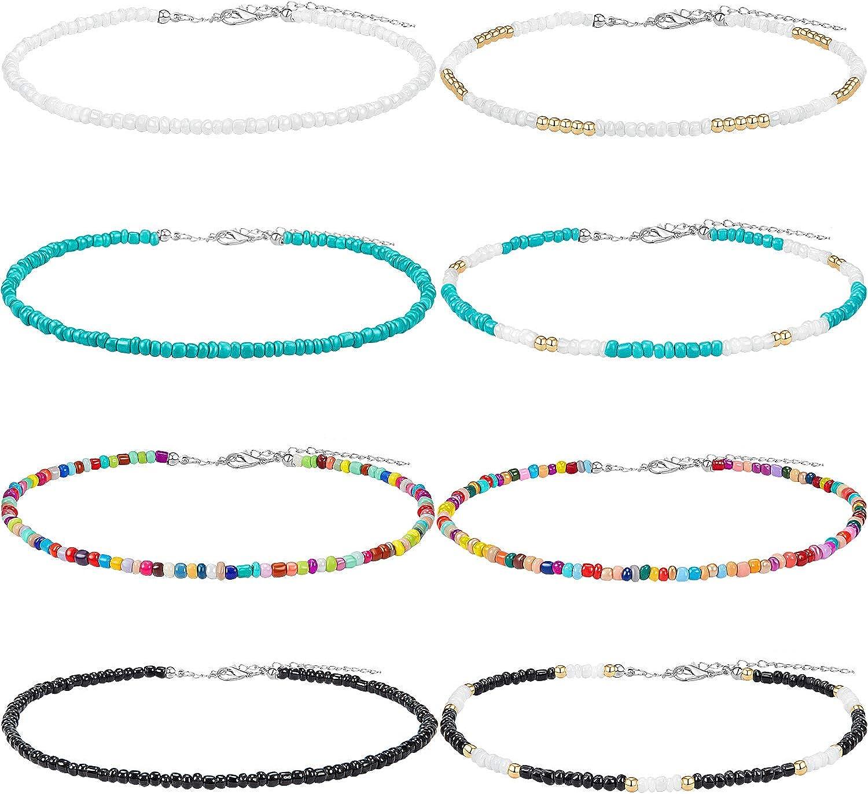 Collar Gargantilla de Cuentas de Semilla Gargantilla de Cuentas Pequeño Gargantilla Boho de Colores Joyería de Cadena para Mujeres y Niñas, Ajustable 12-16 Pulgadas (Color Conjunto 1, 8 Piezas)