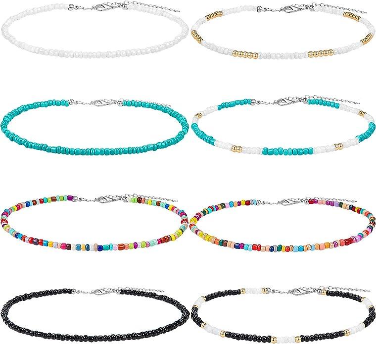 Dainty Pink Teardrop Choker Necklace Necklaces for Women Boho Hippie Necklace Minimalist Choker Beaded Choker Adjustable Cord Choker