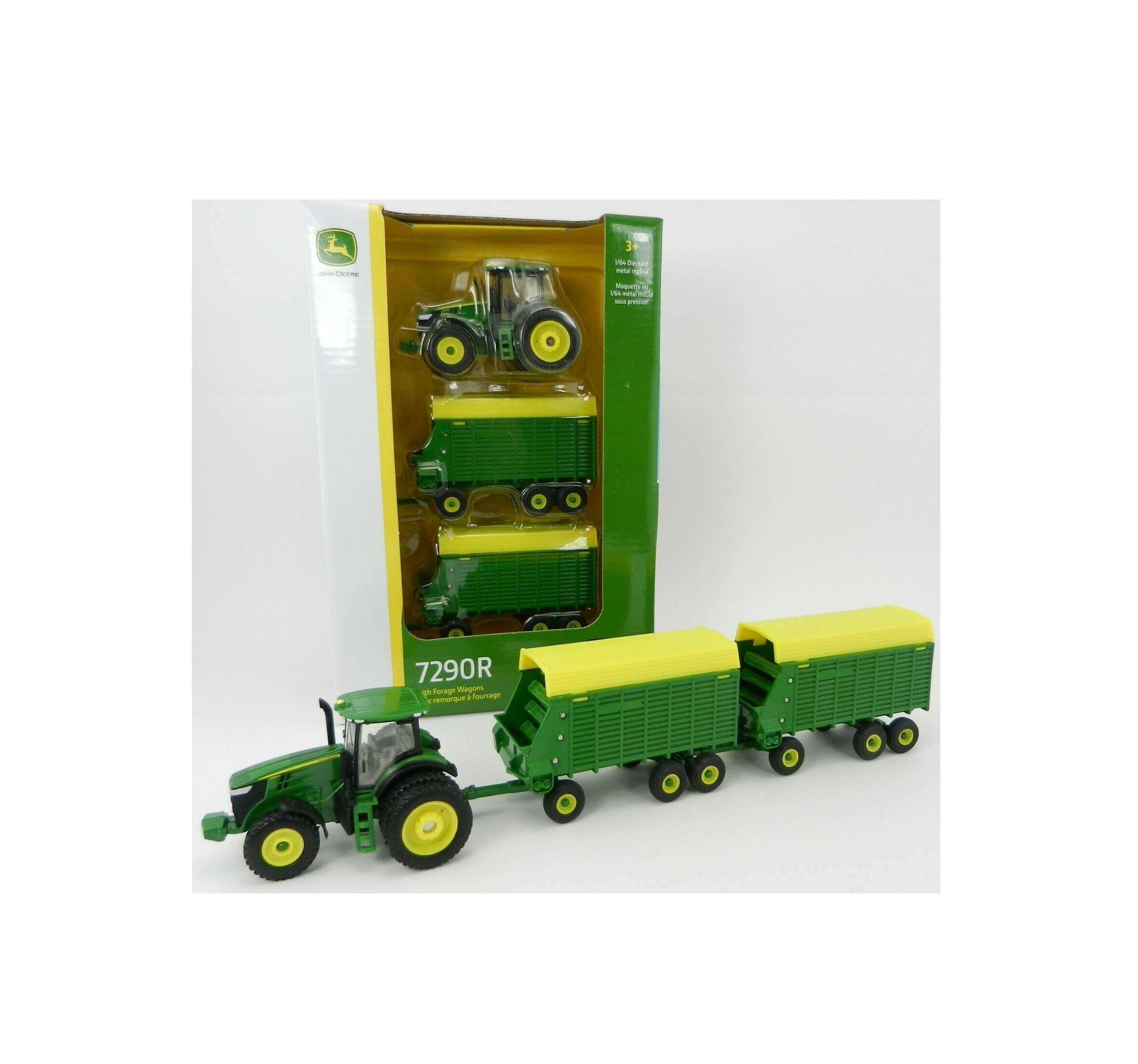 2019 1:64 J0HN DEEREE Model 7290R Tractor & 2 Tandem Axle Forage Wagon Nib Love Gift