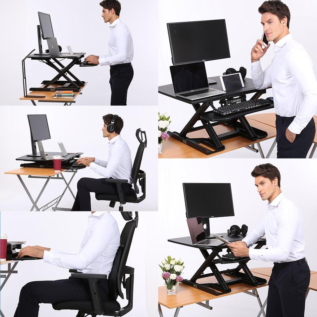 Langria conversor de escritorio de pie con altura ajustable ...