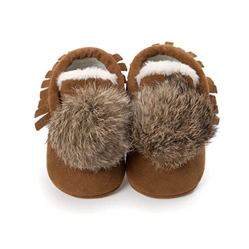 154b52b7dc897 CoKate Baby Moccasins with Fur Fleece Warm Snow Boots Leather Baby Shoes  for Boys Girls