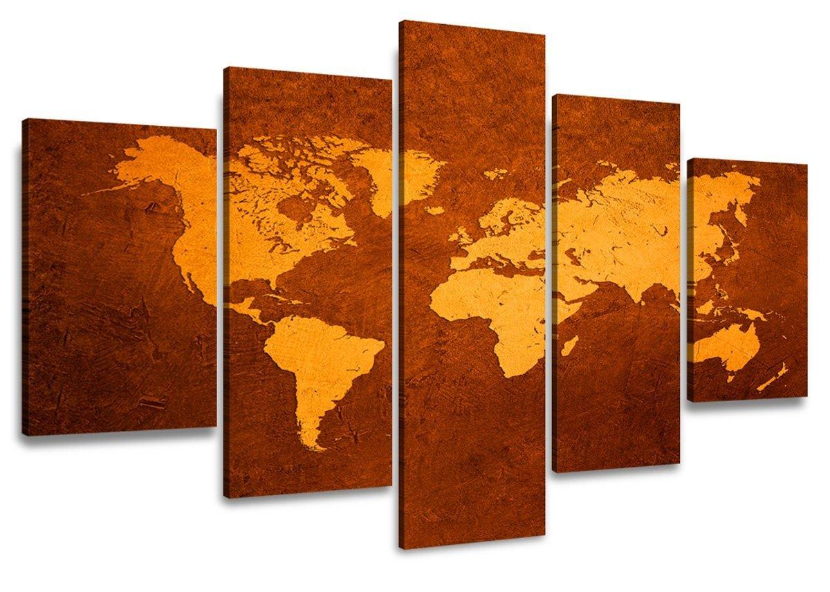 Quadro su tela mappamondo 160 x 80 cm 5 tele modello nr xxl 5508 i quadri sono montati su telai di vero legno stampa artistica intelaiata e pronta da