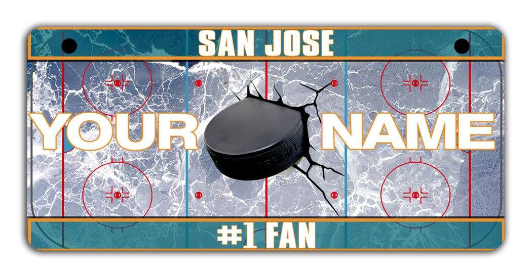 BRGiftShop Personalize Your Own Hockey Team San Jose Bicycle Bike Stroller Childrens Toy Car 3x6 License Plate Tag