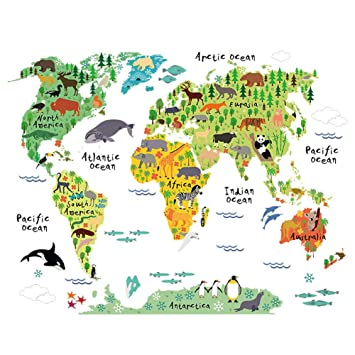 ufengke Cartoon World Map Cute Terrestrial and Aquatic Animals Wall Decals Childrens Room Nursery Removable Wall Stickers Murals