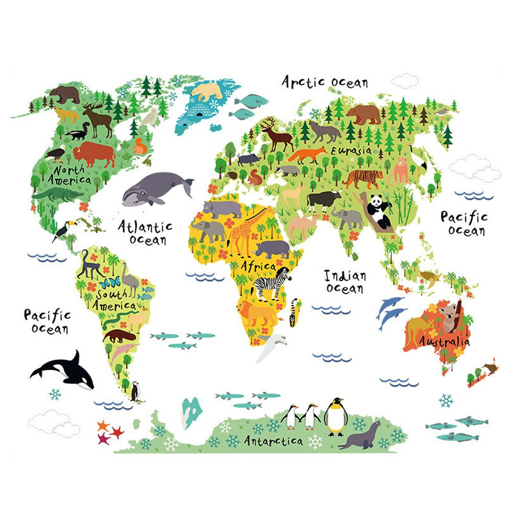 Wallpaper Childrens Bedroom Amazoncouk - Map of the world wallpaper for kids