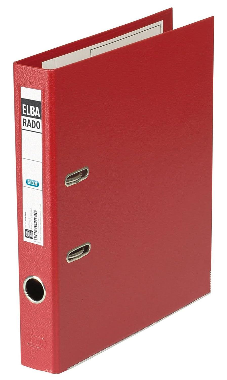 Elba 100022630 - Archivador de plástico, formato A4, 80 mm, color rojo: Amazon.es: Oficina y papelería