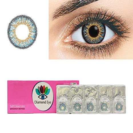7dcc1edb6a Buy Diamond Eye One Day SKY BLUE Color contact lenses Zero Power (5 pair)  By T&R Lens Online at Low Prices in India - Amazon.in