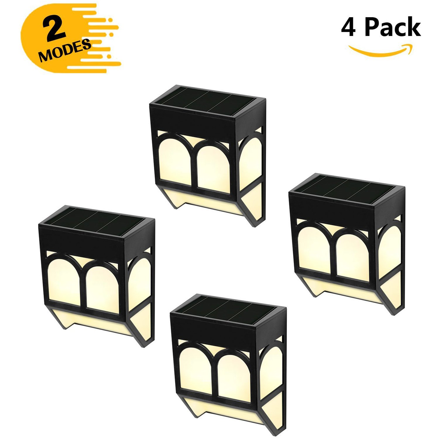 Greluna Solar LED Outdoor Lights - Wireless Waterproof Security Lighting for Deck, Fence, Patio, Front Door, Wall, Stair, Landscape, Yard and Driveway Path - Warm/Color Changing - 4 Pack